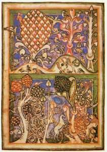 Een bos uit het  manuscript van de Carmina Burana