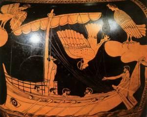 Roodfigurige vaas (5de eeuw v. Chr.) met Odysseus en de sirenen