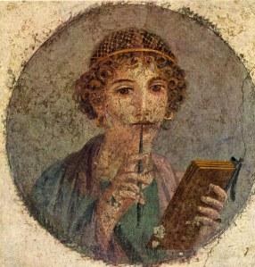 Romeins fresco van een schrijfster - Sapfo?