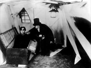 Scène uit 'Das Kabinett des Dr Caligari' (1920)