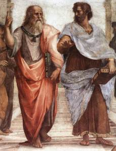 Plato (left) and Aristotle on the School of Athens fresco by Raphael