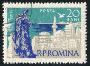 Roemeense postzegel met het standbeeld van Ovidius in Tomis
