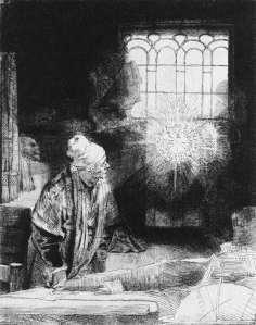 Rembrandt: 'De alchemist', vaak geïdentificeerd met Faust