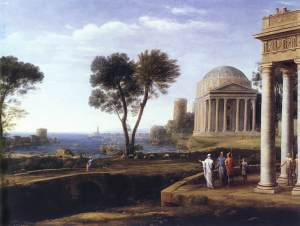 Claude Lorrain: Landschap met Aeneas op Delos (nu in de National Gallery, foto WC)