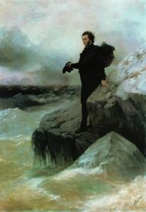 Ivan Aivazovski en Ilja Repin: 'Poesjkins vaarwel aan de zee' (1877)
