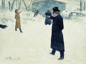 Duel uit 'Jevgeni Onegin' (illustratie van Ilja Repin, 1899)