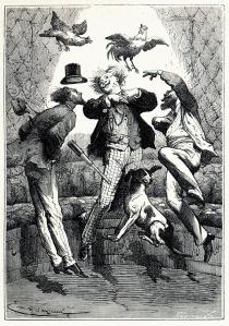 Scène uit Reis naar de maan, eind 19de eeuw