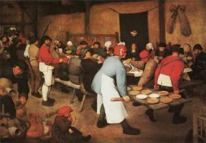 Boerenbruiloft  van Bruegel