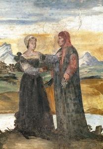 Laura en Petrarca, 19de-eeuws fresco uit het huis van Petrarca in Arquà