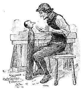 Geppetto snijdt Pinokkio uit, illustratie van Carlo Chiostri uit 1903