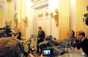 De deur van de Zweedse Academie, setting van de jaarlijkse toekenning op donderdag om een uur