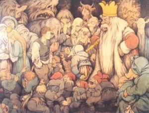 Peer Gynt bij de trollenkoning, aquarel uit 1913