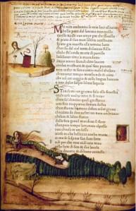 Wiegedruk met het begin van Petrarca's Canzone 323 (1470)