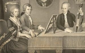 Mozart met zijn vader en zijn zusje Nannerl