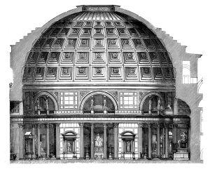 Doorsnedetekening van het Pantheon uit 1908; de buitenkant is anders geworden