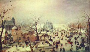 Hendrik Avercamp: Winterlandschap met ijsvermaak (1608)