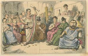 Cicero brengt Catilina ten val, 19de-eeuwse Victoriaanse spotprent