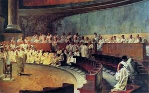 Cesare Maccari: Cicero belaagt Catilina in de Senaat (1889)
