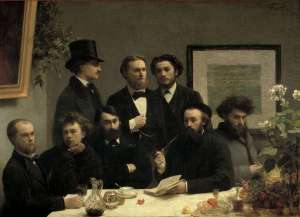 Henri Fantin-Latour: Un coin de table (1868), links Verlaine, naast hem Rimbaud