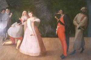 Laat 16de-eeuws Vlaams schilderij van een commedia dell'arte-groep