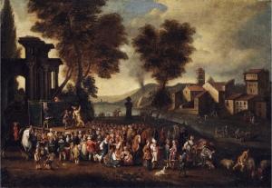 Schilderij met een commedia dell'arte-voorstelling, door Peter van Breedael (late 17de eeuw)