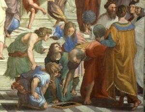 Detail van 'De School van Athene'; Rafaël is de tweede van rechts