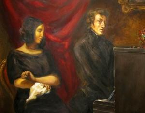 Chopin aan de piano; naast hem George Sand (schilderij van Delacroix)