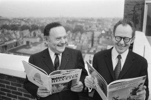 Goscinny (l) en Morris (foto Hans Peters)