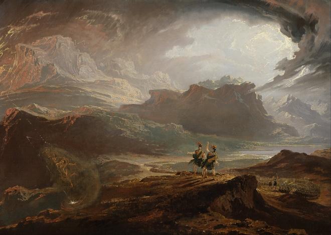 'Macbeth en Banquo ontmoeten de drie heksen' van de romantiche schilder John Martin