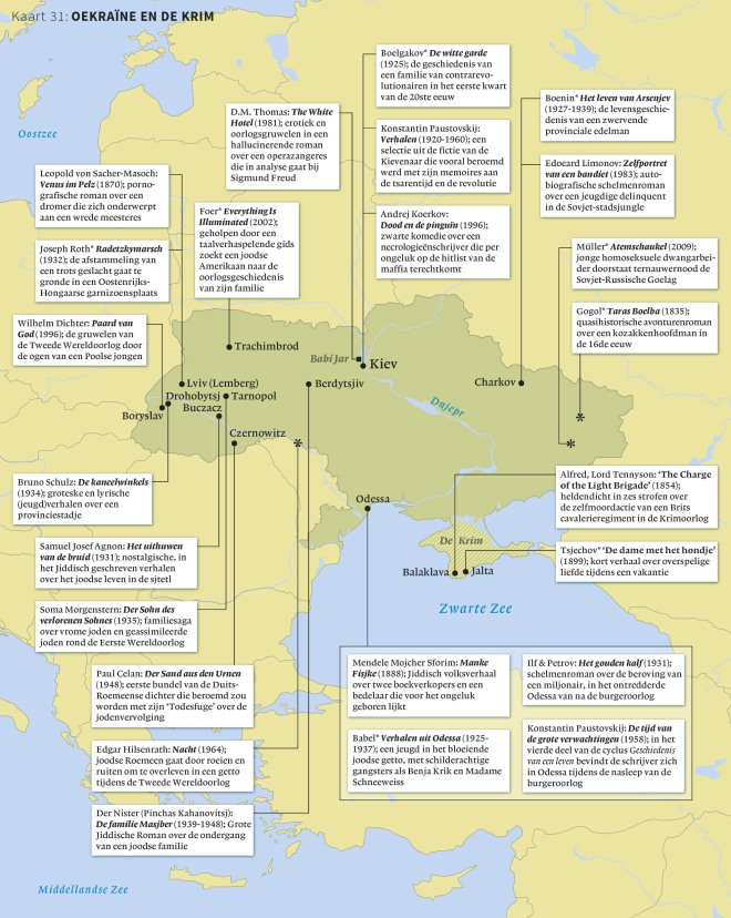 Uit: Steinz - Gids voor de wereldliteratuur (2015); kaart getekend door Rik van Schagen